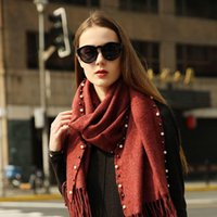 Wholesale Latest Women Scarves - latest version With pearls blanket scarf luxury brand winter Warm cashmere Beautiful tassels scarves Woman HE-30