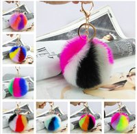 Wholesale Trendy Fashion Accessories Wholesale - 100pcs lot DHL Free Shipping 10CM Wholesale Colorful Genuine Rabbit Fur ball Plush Key Chains Car Keychain Bag Pendant Fashion Accessories