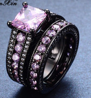 Wholesale Pink Ring Black Gold - 2017New Fashion Cute Pink Ring Sets Black Gold Filled Crystal Jewelry Vintage Wedding Rings For Women Bague Femme Gifts