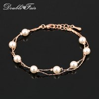 Wholesale Gold Plated Pearl Bangles - Vintage Imitation Pearl Bead Bracelets & Bangles Wholesale 18K Rose Gold Platinum Plated Fashion Brand Wedding Jewelry For Women DFH169M