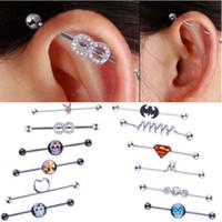 Wholesale Wholesale Industrial Ear Barbell - 2017 New Stainless Steel Long Industrial Barbell Bar Ear expansions Piercing Earring Stretcher Body Jewelry