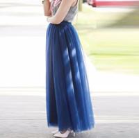 Wholesale Long Modest Skirt Xl - Modest High Quality Royal Blue Long Tulle Skirts For Graceful Lady Elastic belt Style Tutu Skirt For Women Floor Length