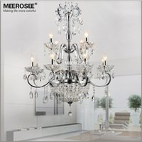 Wholesale Modern Tier Chandelier - Modern Wrought Iron Crystal Chandelier Light Fixture 2 tiers 12 E14 or E12 Lights Crystal Lustre Lamp Chandelier Lighting for Living Roo