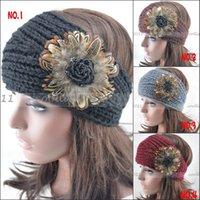 Wholesale Enamel T - Women knit headbands Fur Flower crochet headwrap winter ear warmer hairband girl headbands made wholesale T-33