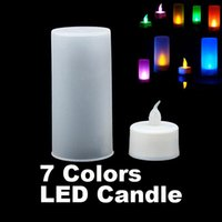 Wholesale Color Changing Candle Floating - Wholesale- LED Electronic 7 Color Change Changing Floating Flicker Candle Flash Light Lamp A1 HR