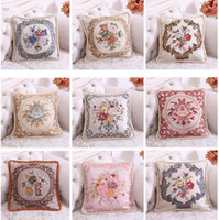 Wholesale Ruffle Pillow Case - Boutique Embroidered Cover Square 50*50CM Flower Pillow Soft Cover Room Decorative Thick Pillow Cases with Ruffles