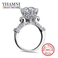 anéis de diamantes puros venda por atacado-YHAMNI Original 100% Pura 925 Anel de Prata Esterlina com 1 Carat SONA CZ Diamante Flor Anel Anel de Design Original Jóias XJ2902