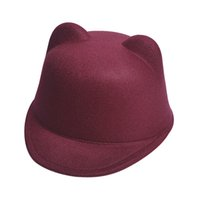 Wholesale Fedora Cat Ear Hat - bowler hat fedora Cute Kitty Cat Ears Wool Derby Bowler Cap Free 4solid color women apparel accessories Shipping DM#6