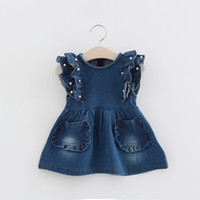 Wholesale Kids Skirts Low Price - Lowest Price Girls Denim Dress Baby Tutu Dress Kids Princess Dresses Lace Skirt Children Clothing Casual Dresses 2017 New Summer
