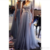 Wholesale Line Porm - New Appliques Crystal Beaded V-Neck A Line Long Sleeves Evening Dresses Tulle Hollow Floor-Length Celebrity Porm Party Dresses