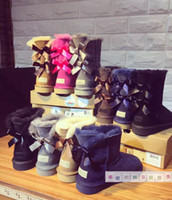 Wholesale Black Leather Mid Calf Boots - Free shipping2017 new Australian snow boots thick leather bow in the tube snow boots cotton shoes