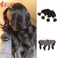 Wholesale Indian Remy Lace Frontals - Grade 7A Raw Indian Virgin Hair Loose Wave With Frontal Ear to Ear Closure Remy Human Hair Bundles With Lace Frontals Curl Weave