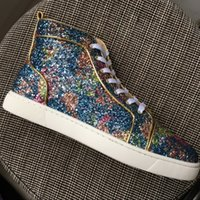 Wholesale Genuine Crystal Drop - New Arrival Mens Womens Purple Glitter Leather High Top Red Bottom Sneakers,Brand Crystal Casual Shoes 36-46 Drop Shipping