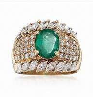 Wholesale Emerald Cut Diamond Yellow Gold - 18K Yellow Gold Natural Colombia Emerald 2.45ct Full Cut Diamonds Mens Ring