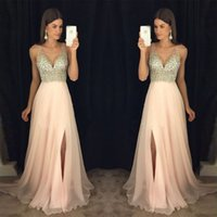Wholesale Homecoing Dressed - Elegant Beading Prom Dress 2017 Homecoing Gown New Arrival Chiffon Front Split Formal Evening dresses Occasion for Party