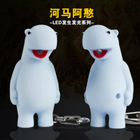 Wholesale Keychain Store - Wholesale- Adorable Hippo Light-up toy LED Light+Neigh sound Animal keyring Bag pendant Giveaway Cute Torch keychain Home Store decoration