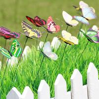 Wholesale Lovely Craft - New Lovely Butterfly On Sticks Popular Art Garden Vase Lawn Craft Decoration Great Bedroom Modern DIY Decor