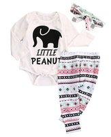Wholesale Girls Elephant Romper - Wholesale- 3 PCS Autumn Spring Newborn kids long sleeve set Infant Baby Boys Girls Elephant Headband+Romper+Pant Legging Outfits Set
