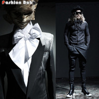 Wholesale long sleeve diy - Wholesale- 2016 New Sweet Darksiders Cotton Mens Shirts with Big DIY Bow Tie Solid Color Black White Brand Designer Top Tees