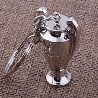Wholesale Trophy Cups Metal - 2017 Europe football trophy Key chain Zinc Alloy Mobile Keychain Pendant Key ring european cup souvenir gift