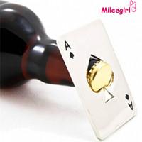 mini kart pokeri toptan satış-Paslanmaz Çelik Şişe Açacağı, Bar Pişirme Poker Maça Araçları Oyun Kartı, Mini Cüzdan Kredi Kartı Açacakları Için Bira