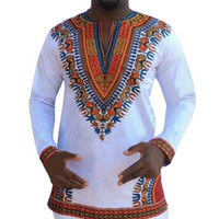 Wholesale Men Wholesale V Necks - Wholesale- fashion Men african traditional print cotton Dashiki T-shirt Men clothing tees and tops men cotton long sleeve t shirt