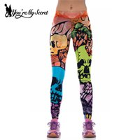 Wholesale Wholesale Jogger Pants Women - Wholesale- [You're My Secret]High Waist Women Leggings Joggers Legging Elastic Slim Fitness Leggins Fitness Print Skull Pants Mujer Size M