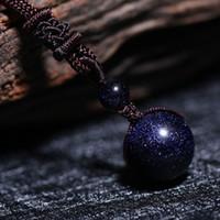 blaue stein seil halskette großhandel-Glückliche Sandsteinperlen aus Brasilien im Lederseil Retro Cosmos Stil Dark Sky Starry Night inspiriert funkelnde blaue Sandstein Perlen Halskette