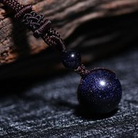 Wholesale Blue Sand Pendant - Lucky Sandstone Beads from Brazil in Leather Rope Retro Cosmos Style Dark Sky Starry Night Inspired Sparkling Blue Sand Stone Bead Necklace