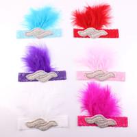 ingrosso piume di fasce per bambini-Baby Kids Handmade piume Hairbands Rhinestone Multi colori piuma pad fascia Costume foto fascia F056