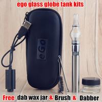 Wholesale Ego T 5ml - Free 5ml Glass Jar Ego Wax Oil Vaporizer EGO Case Glass Dome Globe Tank Single Coil Dab Pens ego-t 650 900 1100 mah e Vape Pen Starter Kits