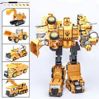 Wholesale Excavator 12 - Robot Model Engineering Vehicle Toy Cartoon Models Deformation Excavator Crane Action Figures Alloy Car Autobots Boys Gifts 19 8sw H1