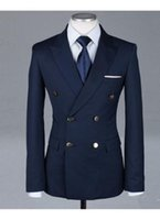 Wholesale Navy Custome - Wholesale- Formal Tuxedos Fashion Men Suits Custome Homme New Style Slim Fit(Jacket+Pant+Tie+Handkerchiefs)Navy Bule Double Breasted Suits