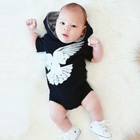 Wholesale Boy Short Sleeve Hooded - Baby eagle print hooded romper Top clothing Infants fashion animal printing hat romper for boys girls 1-2T