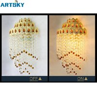 Wholesale Lights For Chassis - Retro Luxury Golden Chassis&Clear Amber K9 Crystal Lighting Fixture E14 Bulbs LED Wall Light for Corrider Living Room Hotel