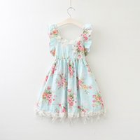 Wholesale Summer Kids Lace Backless Dress - Retail Summer Girls Princess Dresses Lace Flower Sleeveless Party Dresses Tassels Backless Beach Dress For Kids 2-7Y E15165