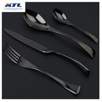 Wholesale Pcs Cutlery Set - KTL 4 Pcs lot Black Rose Dinnerware Set Top Quality Stainless Steel Dinner Knife and Fork and Spoon Teaspoon Cutlery Set