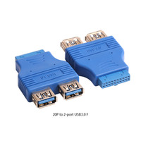 Wholesale Board Header - 20 pin Mother board Header Female to Dual USB 3.0 Type A-Female Adapter Connector Blue