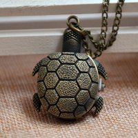 Wholesale Bronze Turtle Vintage - Wholesale-Fast Shipping New Bronze Vintage Turtle Men Women Quartz Pocket Watch Necklace Chain Gift Watch Reloj A265