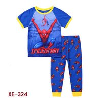 Wholesale Spiderman Shirts For Girls - 2017 Wholesal Baby Spiderman Clothes Kids Super Heros Ssuit Boys Girls Short Sleeve T-shirts Pants Clothing Sets For 2-7Y XE-338