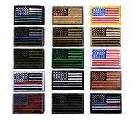 remendos militares da bandeira venda por atacado-Preço VIP Bandeira Dos EUA Tático militar Patches Borda de Ouro bandeira Americana Ferro em remendos Applique Jeans Patches Adesivo de Tecido para o Chapéu emblemas