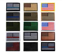 Wholesale Wholesale American Flag Hats - VIP Price US Flag Tactical military Patches Gold Border American flag Iron on patches Applique Jeans Fabric Sticker Patches for Hat badges