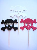 Wholesale Cheap Baby Showers Favors - cheap Pirate Skull and Crossbones Party Picks - Cupcake Toppers - Toothpicks Food Pick wedding baby shower birthday party favors Decoration