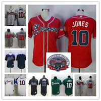 Wholesale Blank Baseball Shirts - Cheap Chipper Jones Jersey Red White Blue Alternate Throwback Atlanta Braves Chipper Jones 10 Jerseys Blank Cream Grey Flex Cool Base Shirts