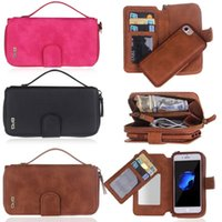 Zipper Phone Bag para iPhone 7 Luxo Business Women / Man Card Slot Wallet Holster Capa de couro para capa de Iphone 7 Phones