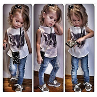 Wholesale 2t Girls Jeans - New Fashion Girls Clothing Sets 2-Piece Suits Sleeveless T-Shirts and Long Jeans Cute Cat Print Toddler Girls Clothing Style