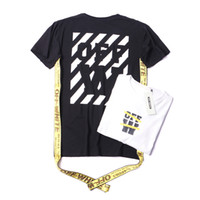painting black pipe - Hot mens lovers OFF WHITE gold ribbon taps stripe offset print painting short sleeve T shirt Tees