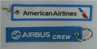 American Airlines Airbus Crew Вышивка Keychain Key Ring Key FOB Вышитая брелок 13,5 x 2,6 см 100шт. Лот