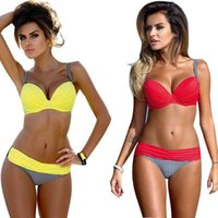 Wholesale Bench Pink - 2016 Summer Bikini Swimwear Women Sexy Bench Swimsuit Bathing Suit Push Up Low Waist Brazilian Bikinis Maillot De Bain BK312