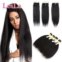Wholesale coarse straight hair online - Full Bundles with Lace Closure Malaysian Kinky Straight Human Hair Pieces Coarse Yaki Full Hair